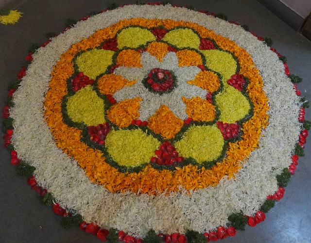 happy new year rangoli Onam floral Rangoli with dots designs 2018