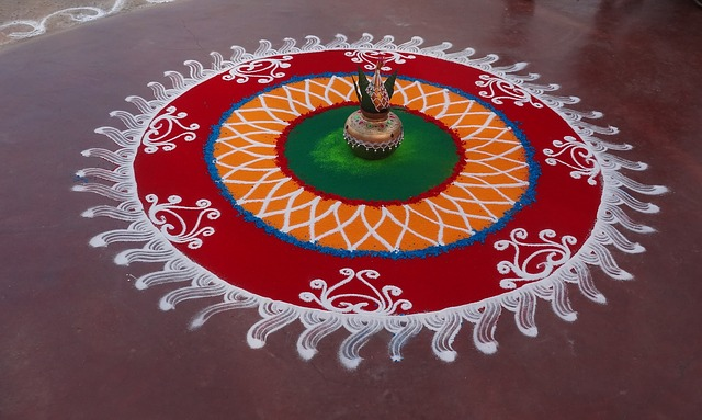 happy new year rangoli Onam floral Rangoli with dots designs 2019