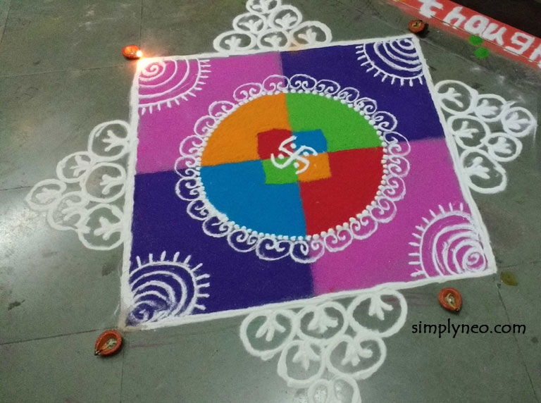 new year rangoli designs 2019 with dots