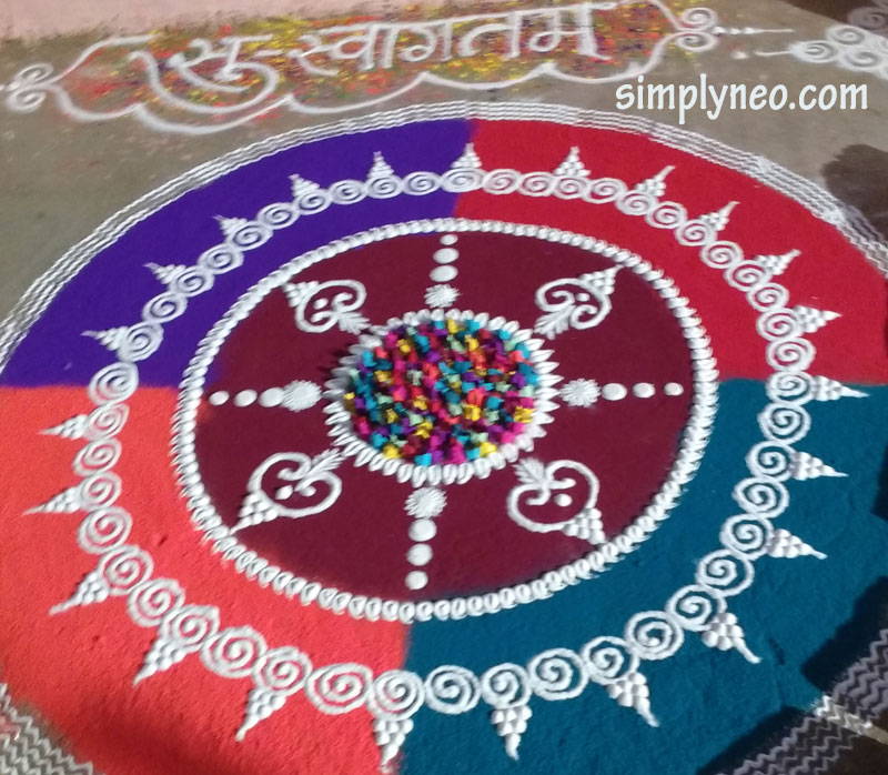 happy new year diwali traditional rangoli Onam floral Rangoli with dots designs 2018