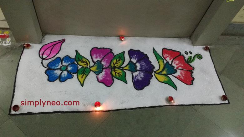 happy new year diwali traditional rangoli Onam floral Rangoli with dots designs 2019